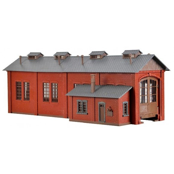 Vollmer - 43480 - H0 Loco shed with door lock mechanism,single track