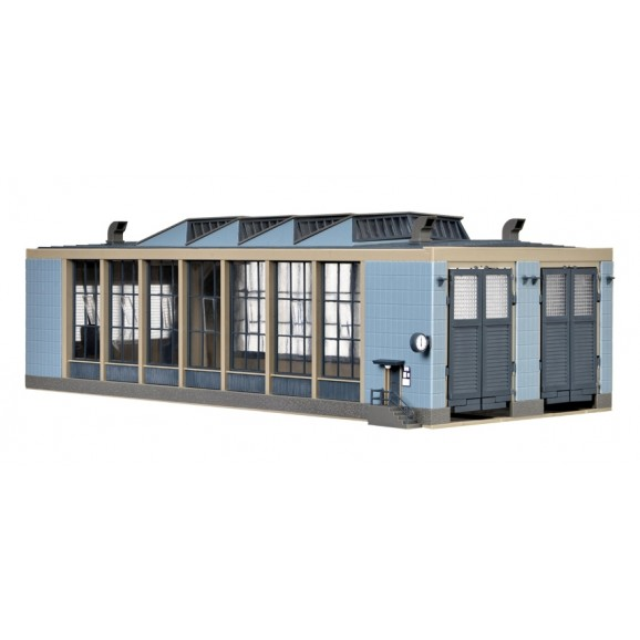 Vollmer - 45765 - H0 E-Loco shed with door lockmechanism, double track, functional kit